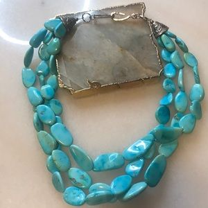 Taxco turquoise triple stranded necklace